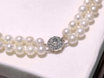 Double Strand Pearl Necklace With Diamond Clasp - Vintage - AC Silver  (W4707)