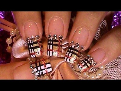 Golden Burberry Pattern Nail Art Design Tutorial