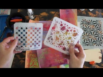 Mixed Media Backgrounds with Stencil Rubbings