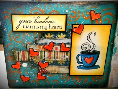 Mixed Media Mini Art Journal Series  Page #9 - Your Kindness Warms My Heart