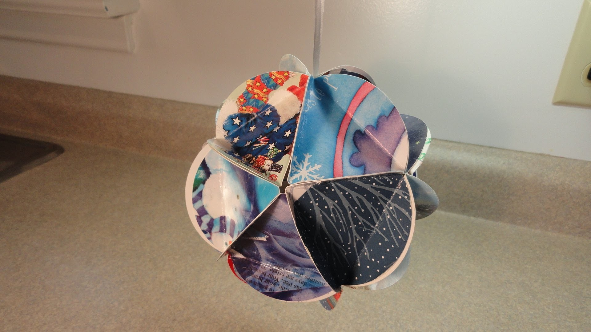 Recycled Christmas Card Ball Ornaments (Geodesic Paper Ball Ornament)