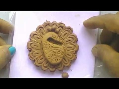 Terracotta jewellery : how to make a SIMPLE & EASY peacock design without using mould