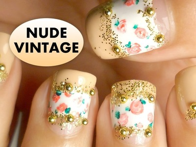 Vintage Roses Nude Nail Art tutorial for short nails