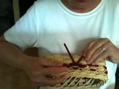 Basket Weaving Video #26d - Mini Muffin Basket - Step 4 of the Braided Rim and Weaving a Bow
