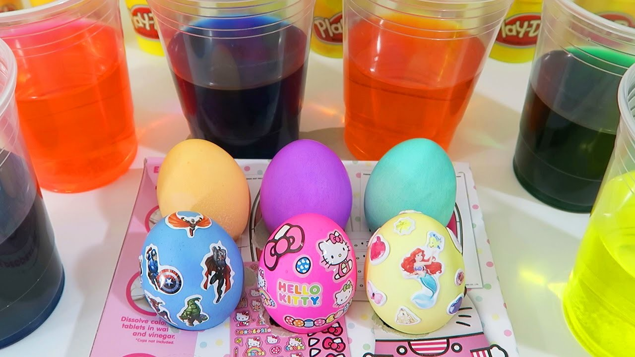 Coloring Easter Eggs with Hello Kitty, Marvel Avengers, & Disney Princess Sticker Decorations!