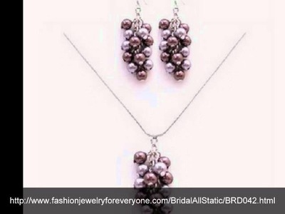Fashionjewelryforeveryone.com Genuine Swarovski Pearl Grape Bunch Pendant & Earring Set