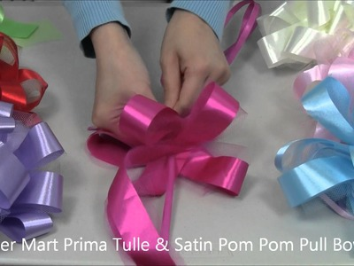 Prima Tulle and Satin Pom Pom Pull-Bows from Paper Mart