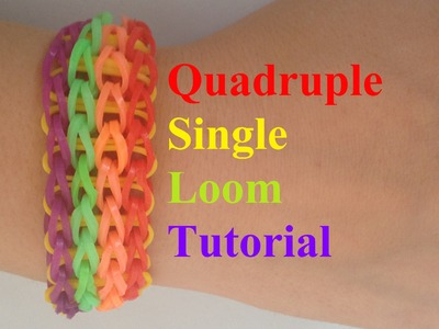 QUADRUPLE SINGLE Loom Bracelet Tutorial Rainbow loom l JasmineStarler