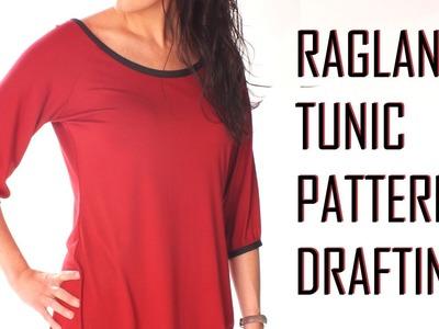 Raglan Tunic.Top Pattern Drafting.neck finish with bias binding. PATTERN DRAFTING TUTORIAL 2