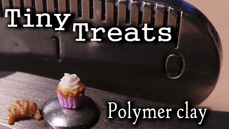 TINY Treats; Polymer Clay Mini, Miniature Cupcake & Croissant :D