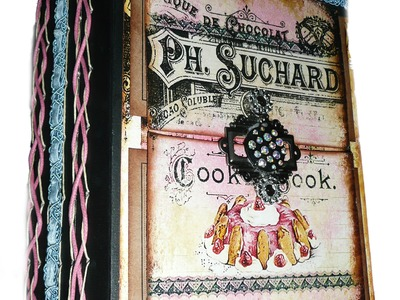 Vintage French Recipe Album.Altered Mixed Media Book (Completed)