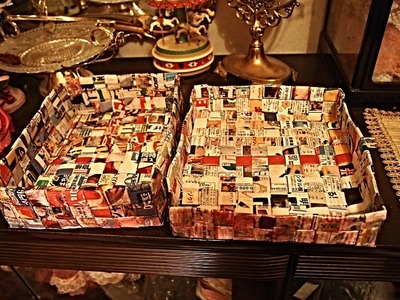 "My D.I.Y. ""Woven Paper Box""  from Magazines"