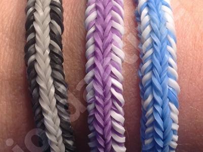 New Rainbow Loom Mini Fishtail Crossover Mash-up Bracelet - Reversible - Finger Loom