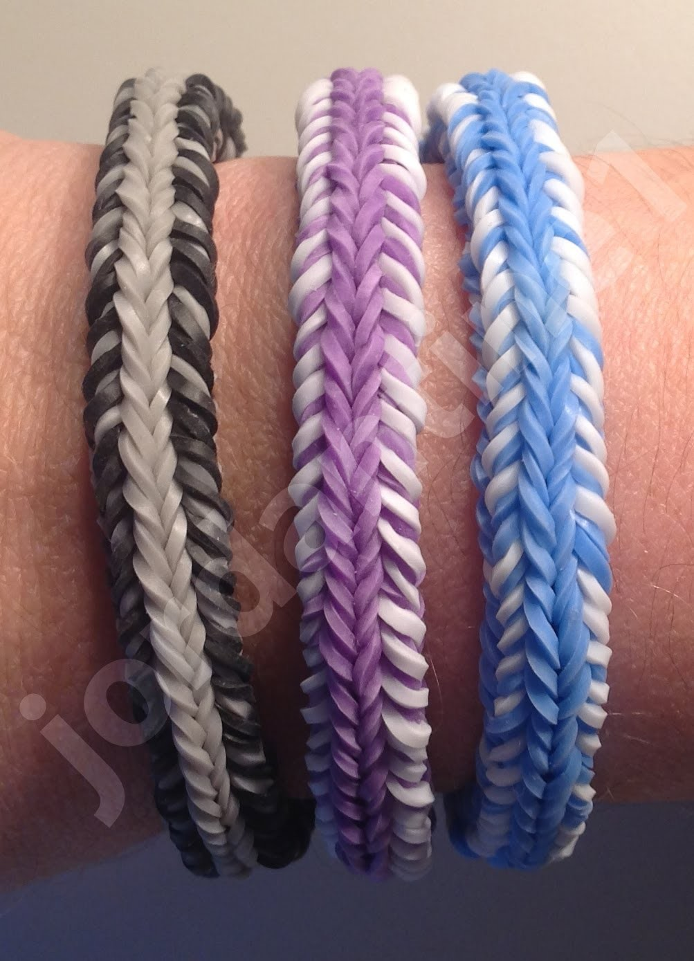 New Rainbow Loom Mini Fishtail Crossover Mash-up Bracelet - Reversible - Finger Loom
