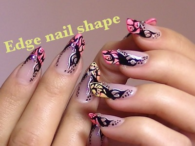 ABSTRACT TATTOO Inspired nail art video tutorial EDGE nails