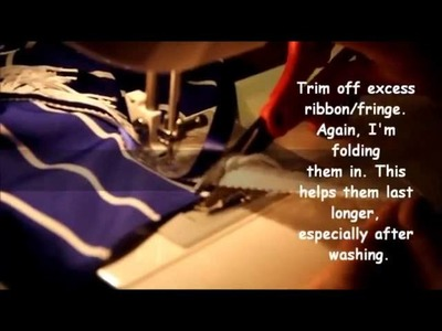 How to sew on Fringes and Border of Blue - 2 Straight stitches