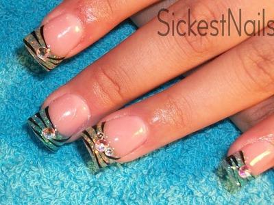 Acrylic Nail Design:Green & Blue Easy Zebra Design