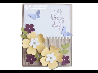 Beautiful Bouquet Flowered Fence Card featuring Stampin Up