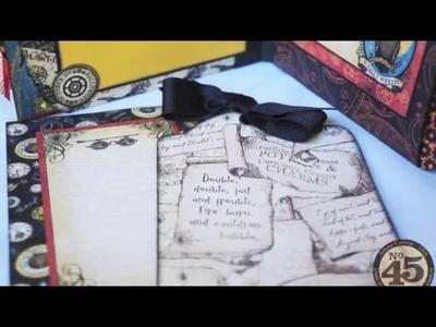 G45 Steampunk Spells Halloween Pocket-Tag Album, plus album binding tutorial
