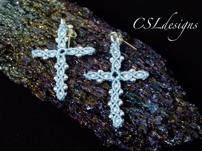 Micro macrame cross earrings | Easter