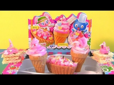Popin Cookin Cake Shop Ice Cream Cones Kit How to make Desserts at Home Edible Candy DIY by Kracie