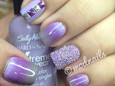 Purple Gradient, Studs, and Caviar Nail Tutorial