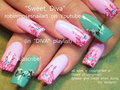 2 Nail Art Tutorials | Long Nail Design | Pink and Teal Henna  Nails