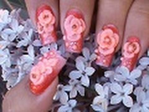 3-D ACRYLIC ROSES NAIL ART DESIGN TUTORIAL