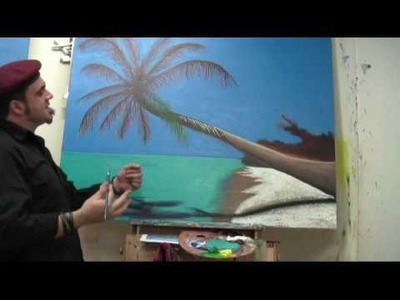 Art Lesson: How to paint a Tropical Palm Tree using Acrylic Paint