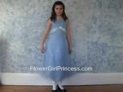 Blue Organza A-line Dress from FlowerGirlPrincess.com