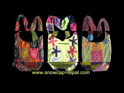 Cotton hippie hobo bohemian sling cross shoulder or cross-body bags, monk bags, lama bags, jogi bags