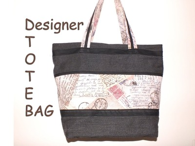 Designer tote bag. Recycled jeans. with zip closure.DIY Bag Vol 8