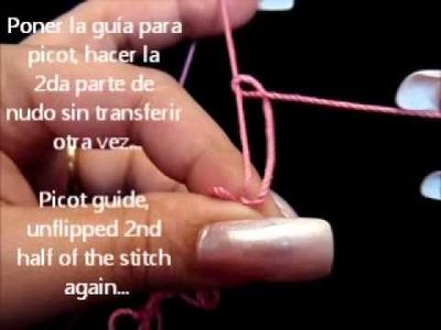 Frivolite-Tatting lesson 70 - imitacion a encaje de horquilla - Mock Hairpin Lace