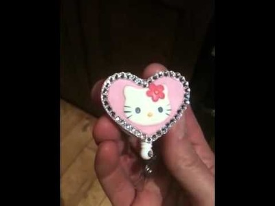Hello kitty heart rhinestone lanyard