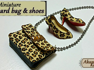 Miniature leopard handbag & shoes - polymer clay.fabric tutorial
