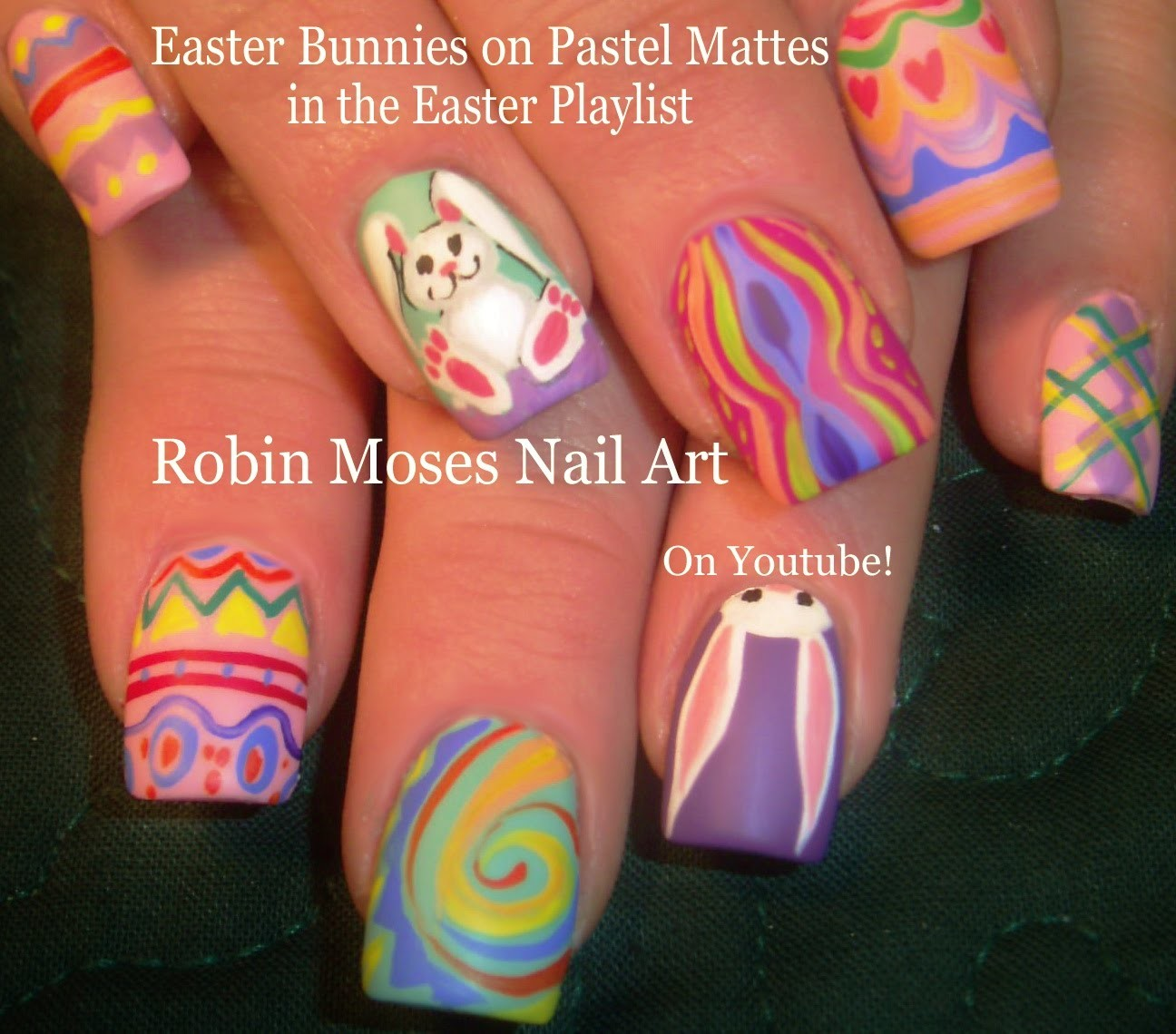 Nail Art Tutorial | Easter Nails | Pastel Bunny Rabbit Spring Nail Design