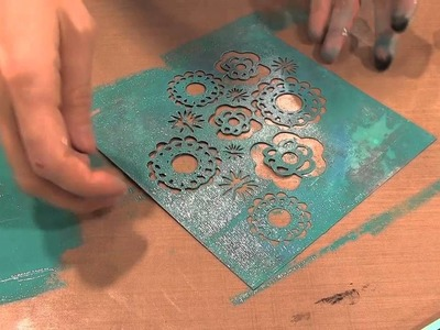 Scrap Time - CHA Winter 2013 - Claudine Hellmuth Reverse Stenciling