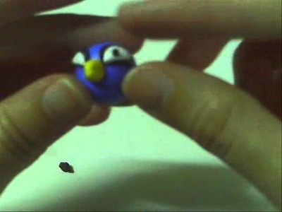 Tutorial: Angry birds polymer clay charms (blue)