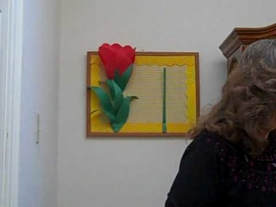 3D Paper Tulip Flower Bulletin Board for School Classrooms Created with Staple Gun