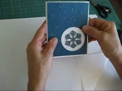 Add a floating snowflake in a card.  www.frenchiestamps.com