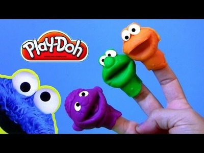 Cookie Monster Hand Puppets Play Doh - How to Make Playdough Sesame Street Elmo Ernie