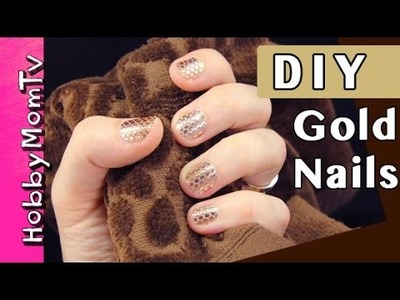 DIY Gold Nails | Essie Stickers Tutorial by HobbyMomTV