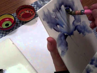 Iris - Porcelain Painting -Stage 6 (First Fire) by Chris Ryder, Bala