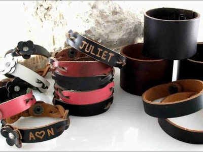 Personalized Name Gift Engraved Leather Bracelet