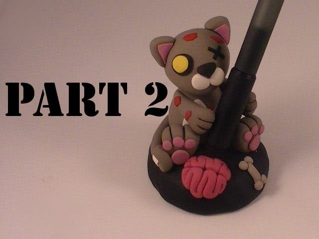 Polymer Clay Zombie Kitty Pen Holder (Part 2)