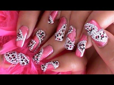 Princess Pink Leopard Nail Art Design Tutorial