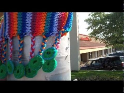 Reporter Kendall Kirkham goes yarn bombing with K Witta