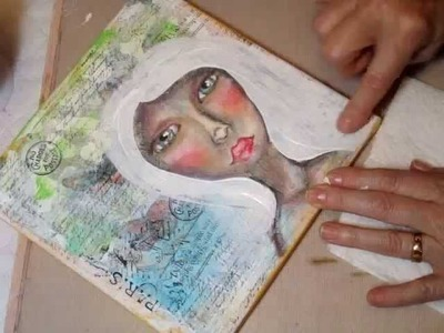 Spirit Girl 8x8 Mixed Media Canvas (start to finish)
