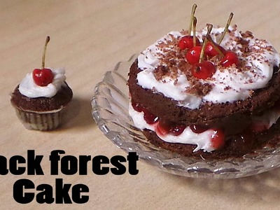 Cherry Chocolate. Schwarzwald. Black Forest Miniature Cake - Polymer Clay Tutorial