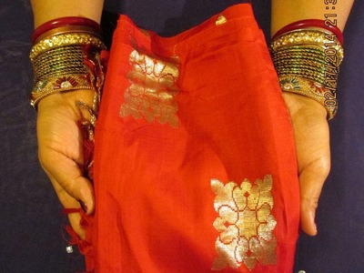 CREATE GORGEOUS DUPATTA. SCARF FROM OLD BANARASI SARI AND PUT SEQUINS ON IT.